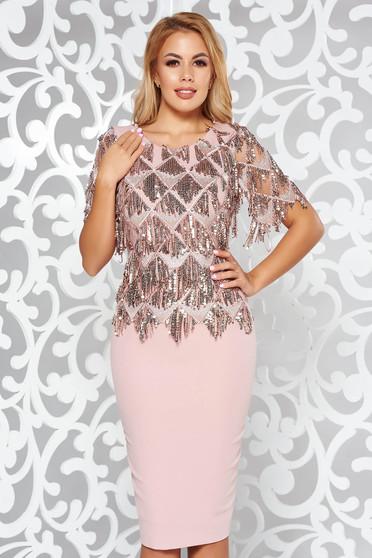 Rózsaszínű alkalmi ceruza ruha flitteres díszítés elől hímzett