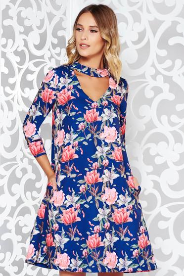 Kék StarShinerS elegáns bő szabású 3 4-es ujjú ruha finom tapintású anyag  virágmintás d8fbc05cdc