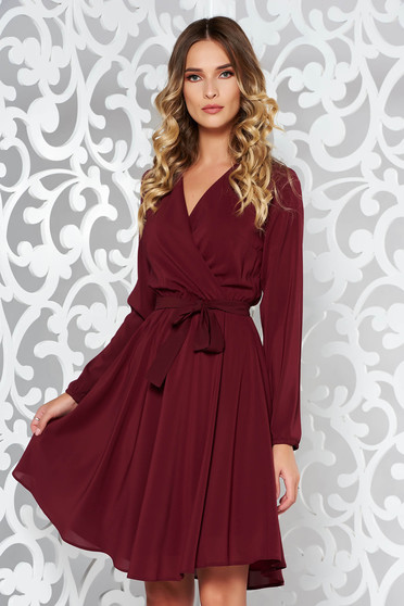 Burgundy StarShinerS ruha elegáns harang fátyol derékban rugalmas övvel  ellátva belső béléssel 32bb01b516