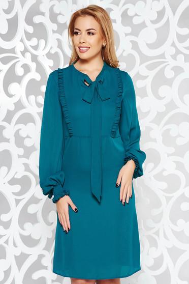 Zöld LaDonna hétköznapi bő szabású ruha hosszú ujjak fátyol anyag fodros