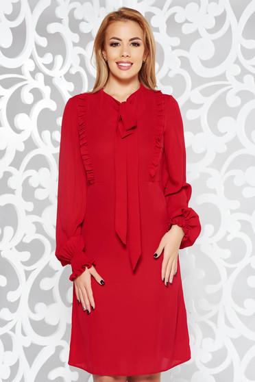 Piros LaDonna hétköznapi bő szabású ruha hosszú ujjak fátyol anyag fodros