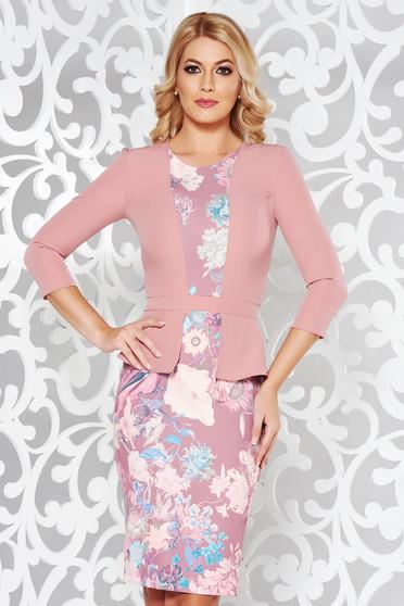 Rózsaszínű StarShinerS elegáns ceruza ruha enyhén elasztikus szövet  virágmintás díszítéssel 8a2eb06d2d