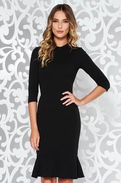 Fekete StarShinerS elegáns szűk szabás ruha rugalmas anyag fodrok a ruha alján
