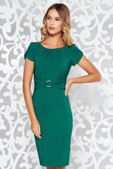 Zöld LaDonna elegáns ceruza ruha finom tapintású anyag fém csat