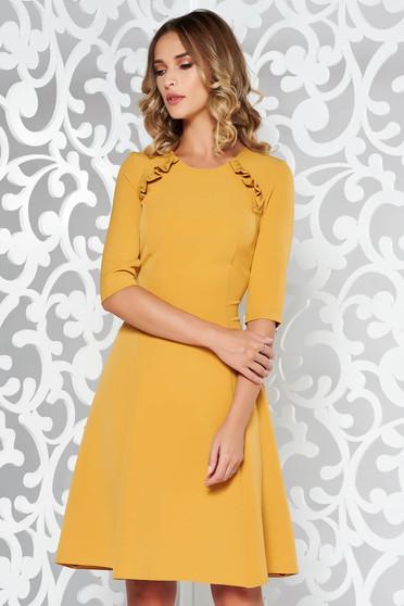Mustar StarShinerS ruha irodai harang enyhén elasztikus szövet midi fodros