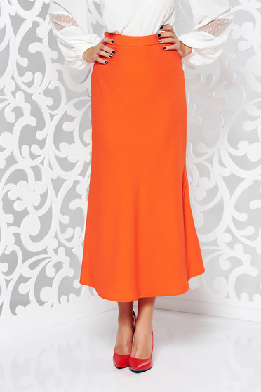 Narancs StarShinerS elegáns bővülő magas derekú szoknya enyhén rugalmas anyag