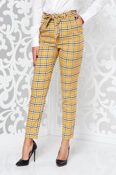 Mustar casual kónikus nadrág rugalmatlan szövet kockás