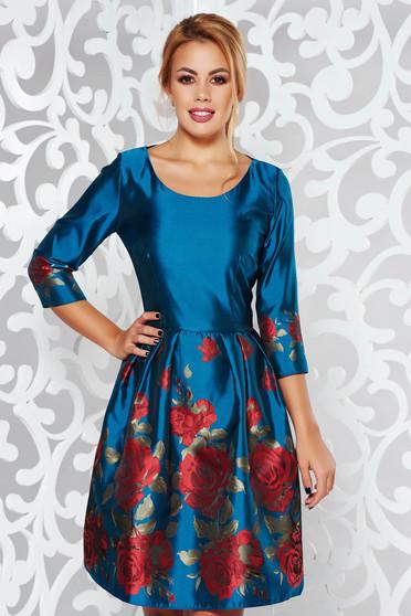 Türkiz PrettyGirl alkalmi harang ruha fényes anyag virágmintás díszítéssel