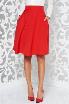 Piros StarShinerS elegáns harang szoknya magas derekú enyhén elasztikus szövet