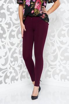 Burgundy casual nadrág szűk szabás enyhén rugalmas anyag