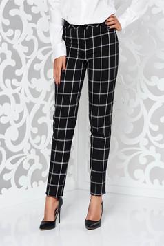 Fekete LaDonna irodai kónikus nadrág enyhén elasztikus szövet kockás