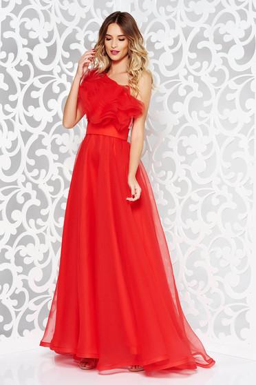 Piros Ana Radu ruha tüll belső béléssel fodrok a mellrészen egy vállas