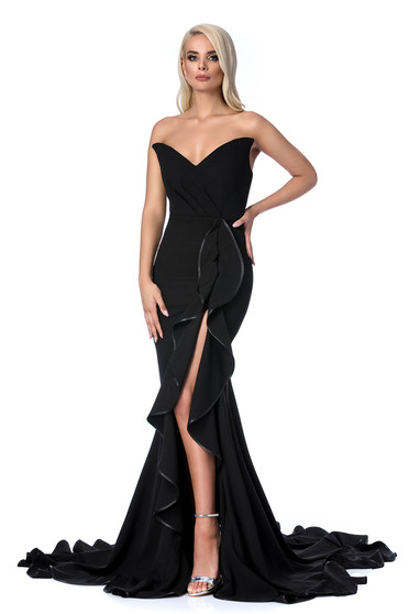 Fekete Ana Radu ruha szirén tipusú fodros váll nélküli