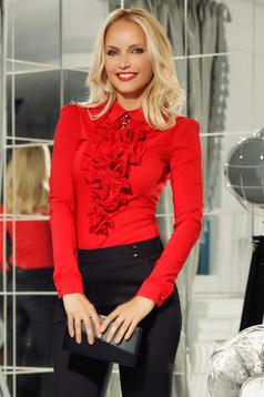 Piros Fofy pamutból készült irodai női ing szűk szabás