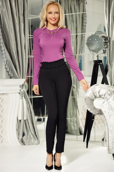 Fekete Fofy kónikus magas derekú szűk szabású nadrág