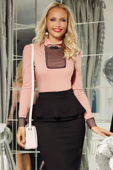 Rózsaszínű Fofy irodai női ing enyhén elasztikus pamut szűk szabás