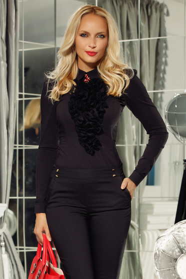 Fekete Fofy pamutból készült irodai női ing szűk szabás