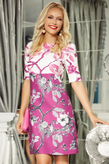Pink Fofy elegáns a-vonalú 3/4-es ujjú ruha enyhén rugalmas anyag virágmintás díszítéssel