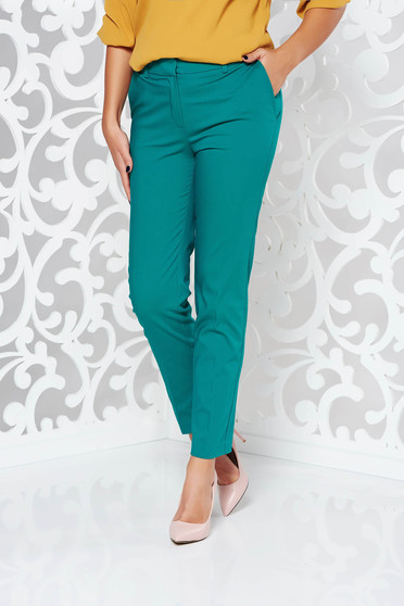 Zöld nadrág irodai kónikus pamutból készült normál derekú zsebes