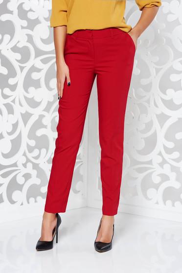 Piros nadrág irodai kónikus pamutból készült normál derekú zsebes
