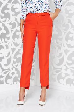 Piros StarShinerS irodai normál derekú kónikus nadrág enyhén rugalmas szövet zsebes