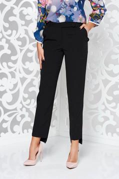 Fekete StarShinerS nadrág irodai kónikus enyhén rugalmas szövet normál derekú zsebes