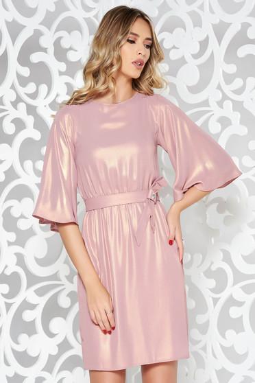 Rózsaszínű StarShinerS alkalmi harang ruha vékony anyag belső béléssel derékban rugalmas