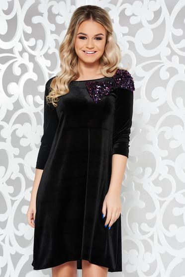 Fekete StarShinerS alkalmi bő szabású bársony ruha masni díszítéssel flitter