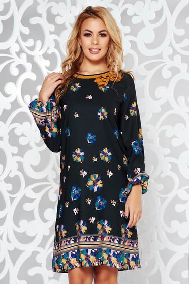 Fekete LaDonna ruha hétköznapi bő szabás nem rugalmas anyag belső béléssel virágos díszek