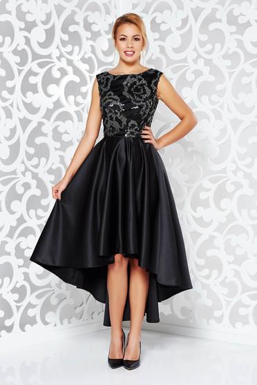 Fekete ruha alkalmi aszimetrikus szatén anyagból flitteres díszítés