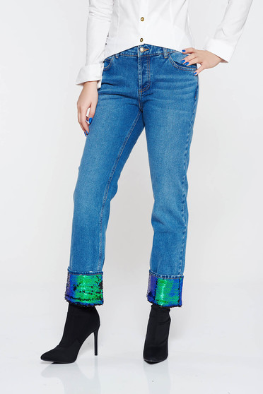 Kék casual farmer pamutból készült flitteres díszítés egyenes szabás