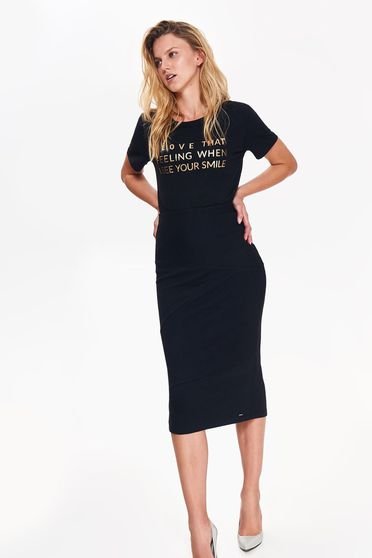 Fekete Top Secret póló casual bő szabású nem elasztikus pamut nyomtatott mintával