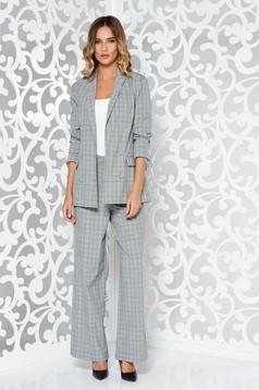 Fehér StarShinerS női kosztüm irodai rugalmatlan anyag belső béléssel magas derekú
