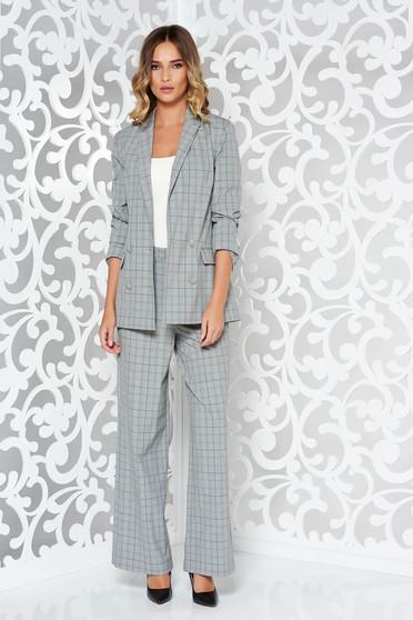 Fehér StarShinerS irodai magas derekú női kosztüm rugalmatlan anyag belső béléssel