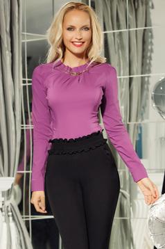 Fofy lila irodai pamutból készült női ing szűk szabás fémes kiegészítő
