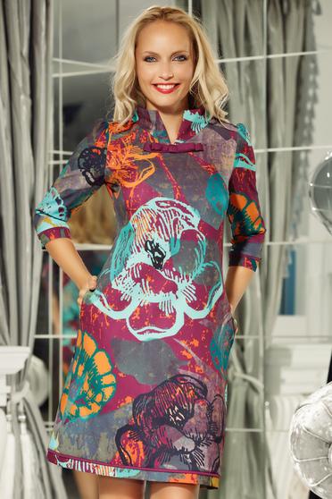 Lila Fofy ruha irodai a-vonalú enyhén rugalmas anyag virágmintás díszítéssel