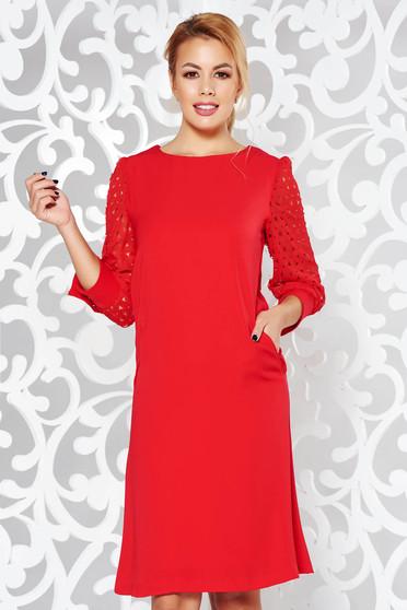 Piros elegáns a-vonalú ruha nem rugalmas anyag belső béléssel zsebekkel