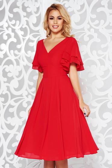 Piros ruha alkalmi harang fátyol belső béléssel v-dekoltázzsal