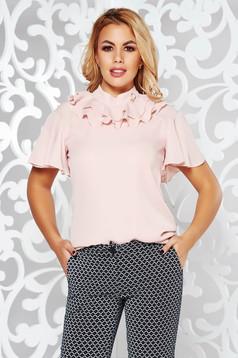 Rózsaszínű PrettyGirl elegáns fátyol bő szabású női blúz fodros fémes kiegészítő