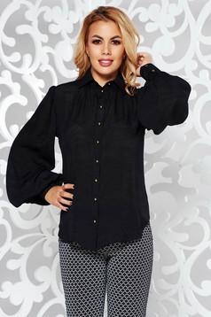 Fekete PrettyGirl női ing irodai bő szabású lenge anyagból hosszú ujjú
