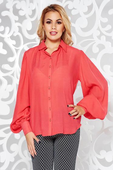 Korall PrettyGirl női ing irodai bő szabású lenge anyagból hosszú ujjú