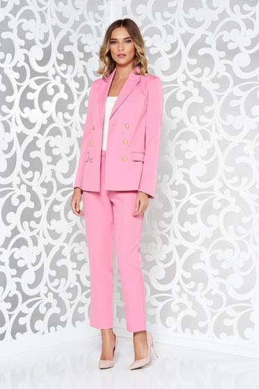 Pink StarShinerS női kosztüm irodai rugalmatlan anyag egyenes szabás belső béléssel