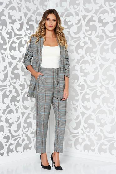 Barna StarShinerS női kosztüm irodai rugalmatlan anyag kockás anyag belső béléssel