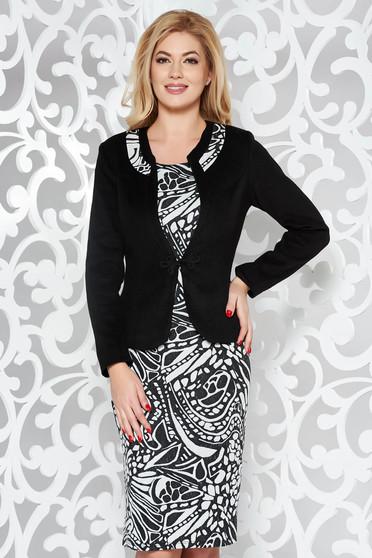 Fekete női kosztüm irodai vastag anyag