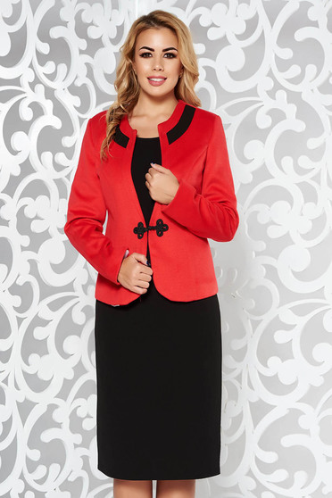 Piros női kosztüm irodai vastag anyag
