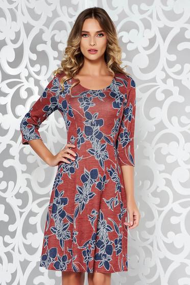 Piros ruha hétköznapi midi harang puha anyag kötött nyomtatott mintával 09299c4819