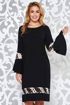 Fekete StarShinerS elegáns bő szabású ruha enyhén elasztikus szövet hímzett betétekkel