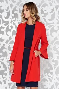 Piros nagykabát elegáns finom tapintású anyag belső béléssel zsebes háromnegyedes ujjú