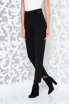Fekete PrettyGirl nadrág irodai enyhén rugalmas anyag zsebes magas derekú kónikus