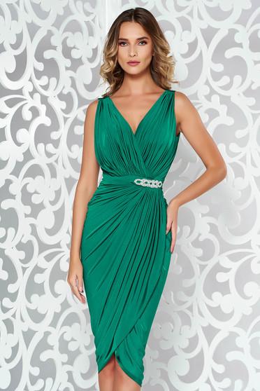 Zöld ruha alkalmi átfedéses strassz köves kiegészítő szűk szabás vékony anyag
